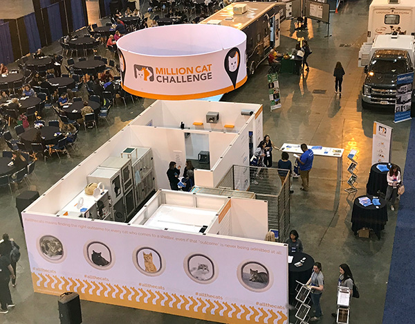 Million Cat Challenge Expo booth as seen from above
