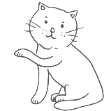 Line drawing of a kitty with one paw raised