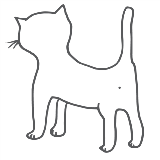 Line drawing of a kitten shown from the rear